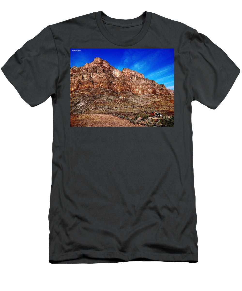 Helicopter Men's T-Shirt (Athletic Fit) featuring the digital art The Landing by James Markey