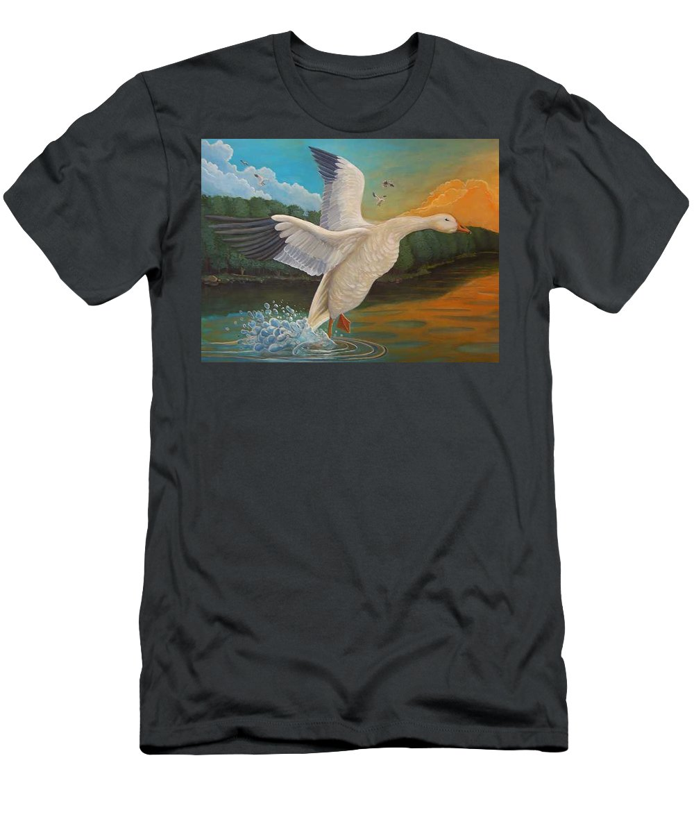 Rick Huotari Men's T-Shirt (Athletic Fit) featuring the painting The Landing by Rick Huotari