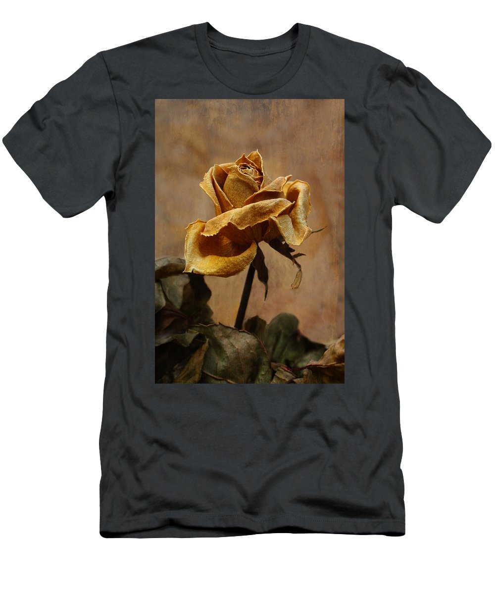 Rose Men's T-Shirt (Athletic Fit) featuring the photograph The Last Autumn Rose Before The First Snow by Guna Andersone