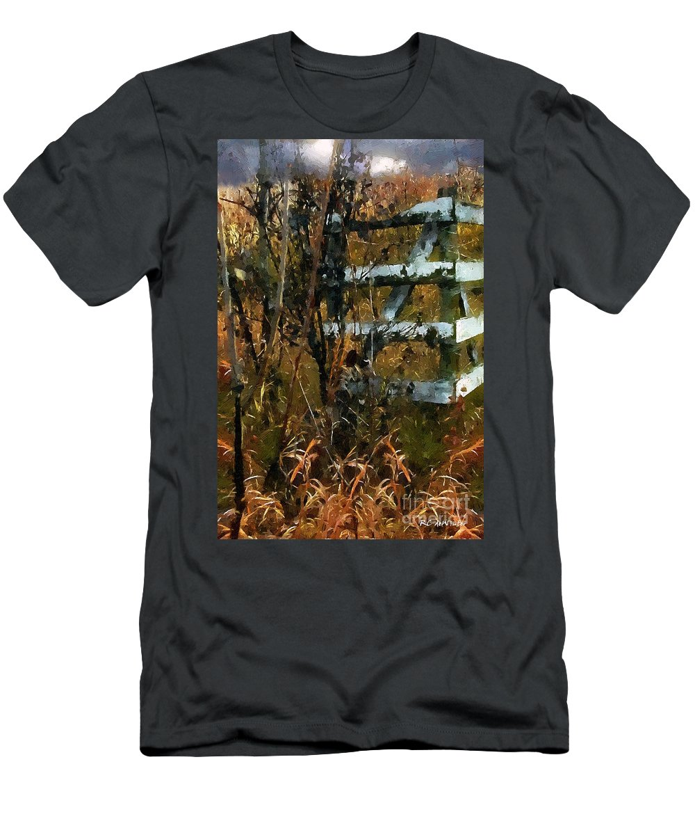 Autumn Men's T-Shirt (Athletic Fit) featuring the painting The Last Of The Old Corral by RC DeWinter