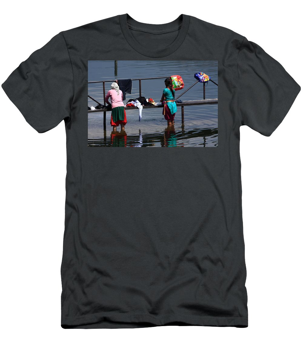 Nepal Men's T-Shirt (Athletic Fit) featuring the photograph The Laundry - Nepal by Aidan Moran