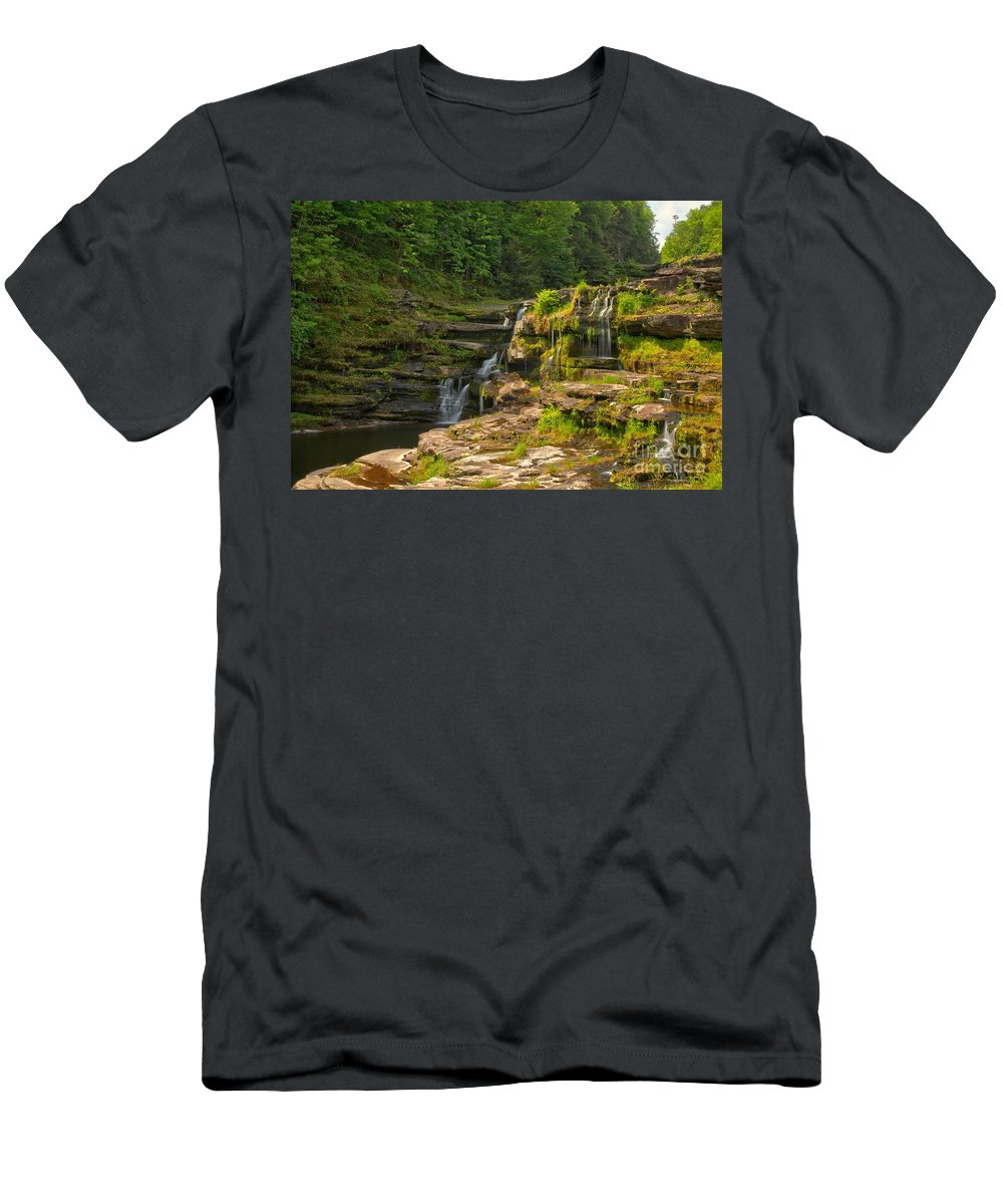 The Ledges Men's T-Shirt (Athletic Fit) featuring the photograph The Ledges Waterfalls by Adam Jewell