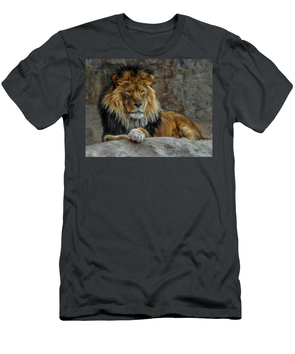 Lion Men's T-Shirt (Athletic Fit) featuring the digital art The Lion Digital Art by Ernie Echols