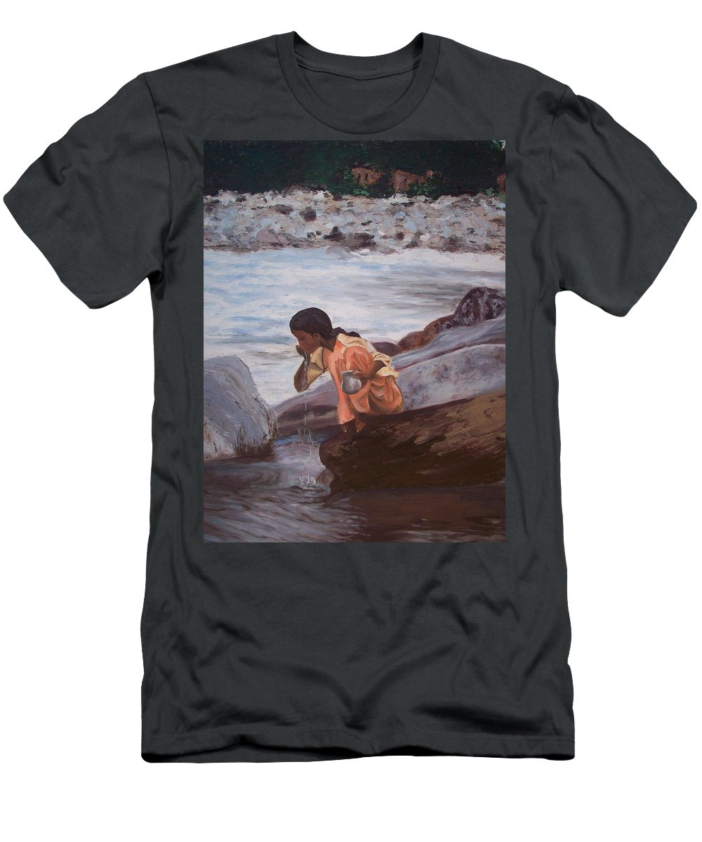 Girl Men's T-Shirt (Athletic Fit) featuring the painting Little Girl And Ganga River by Mila Kronik