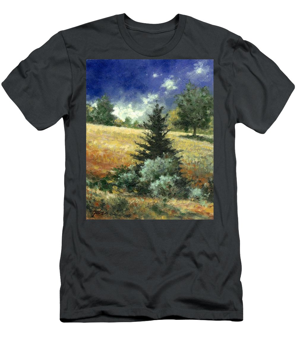 Painting Men's T-Shirt (Athletic Fit) featuring the painting The Lone Fir by Jim Gola