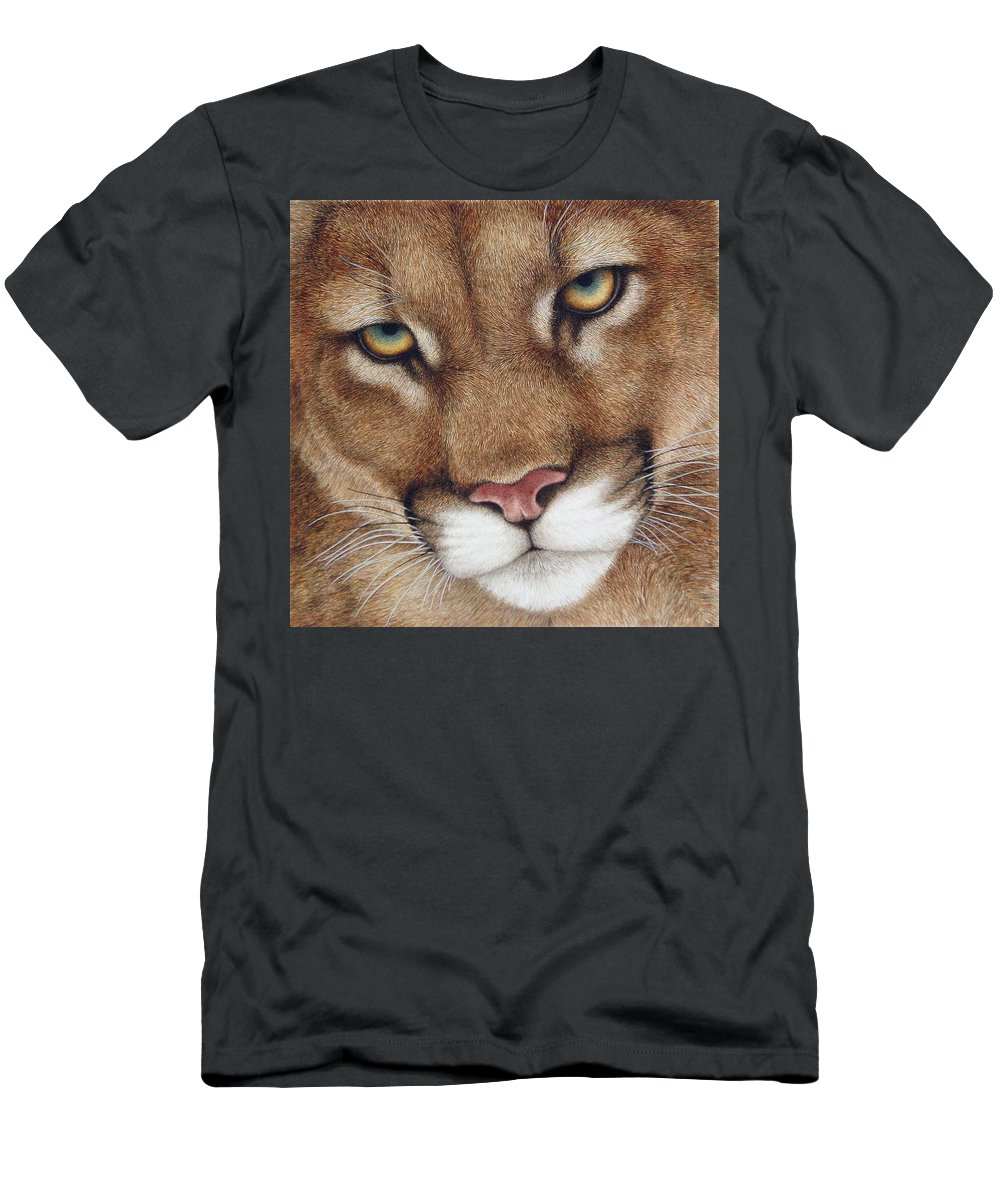 Cougar Men's T-Shirt (Athletic Fit) featuring the painting The Look Cougar by Pat Erickson