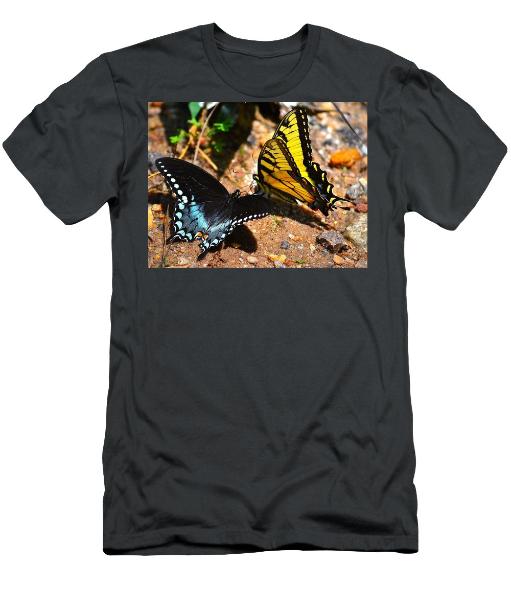 Tiger Men's T-Shirt (Athletic Fit) featuring the photograph The Meeting Of The Butterflies by Tara Potts