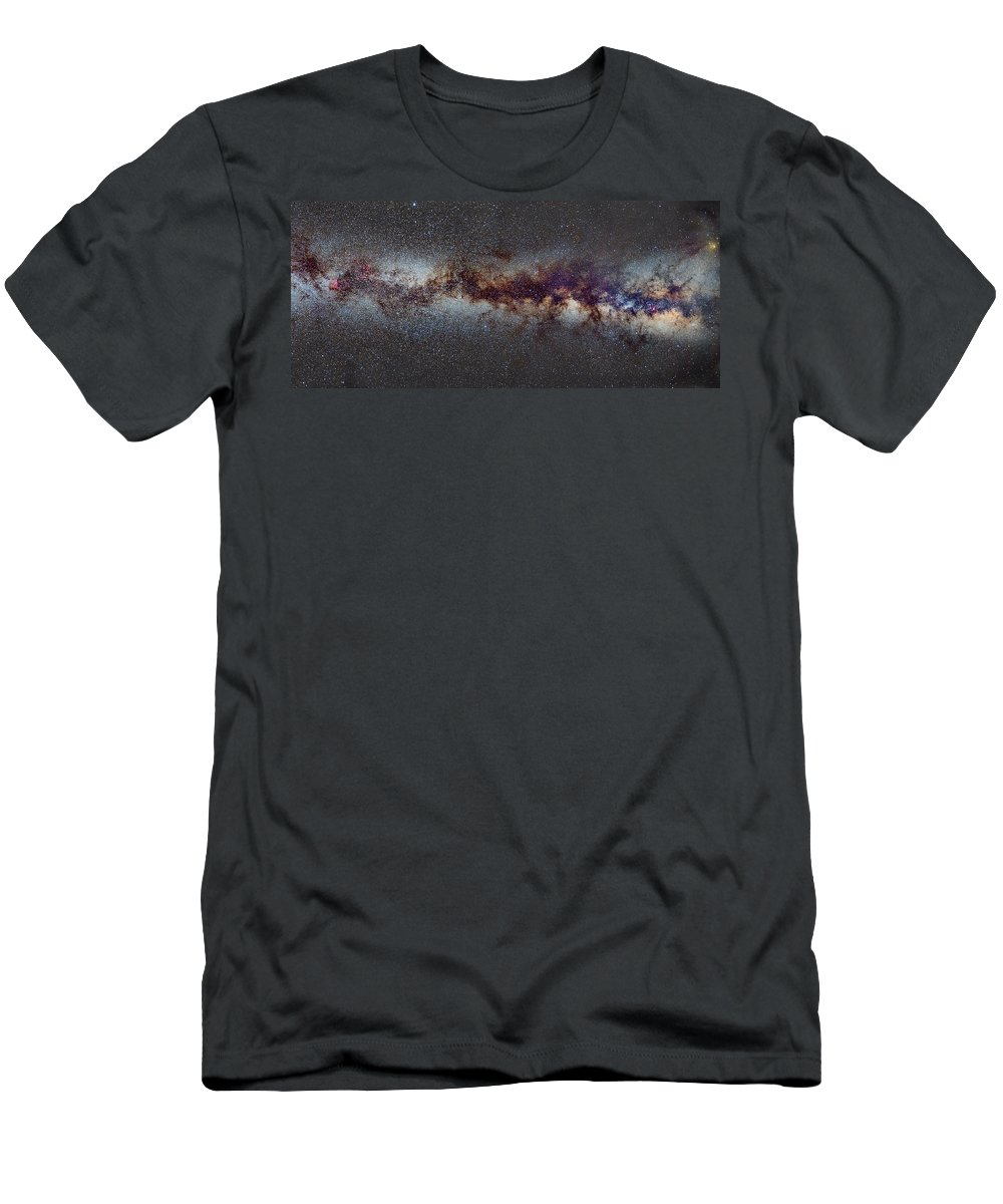 Landscapes Men's T-Shirt (Athletic Fit) featuring the photograph The Milky Way From Scorpio Antares And Sagitarius To North America Nebula In Cygnus by Guido Montanes Castillo