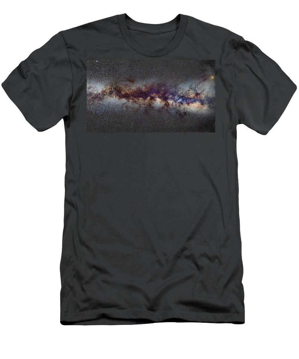 Landscapes Men's T-Shirt (Athletic Fit) featuring the photograph The Milky Way From Scorpio Antares And Sagitarius To Scutum And Cygnus by Guido Montanes Castillo