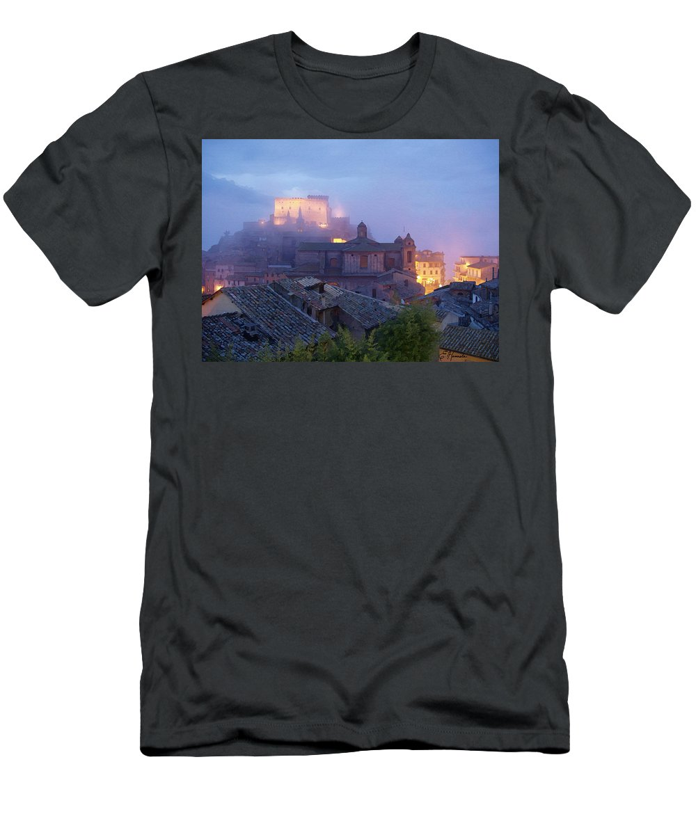 The Mists Of Soriano Men's T-Shirt (Athletic Fit) featuring the painting The Mists Of Soriano by Ellen Henneke
