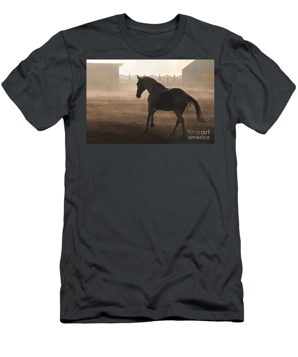 Horse Men's T-Shirt (Athletic Fit) featuring the photograph The Morning Light by Angel Ciesniarska