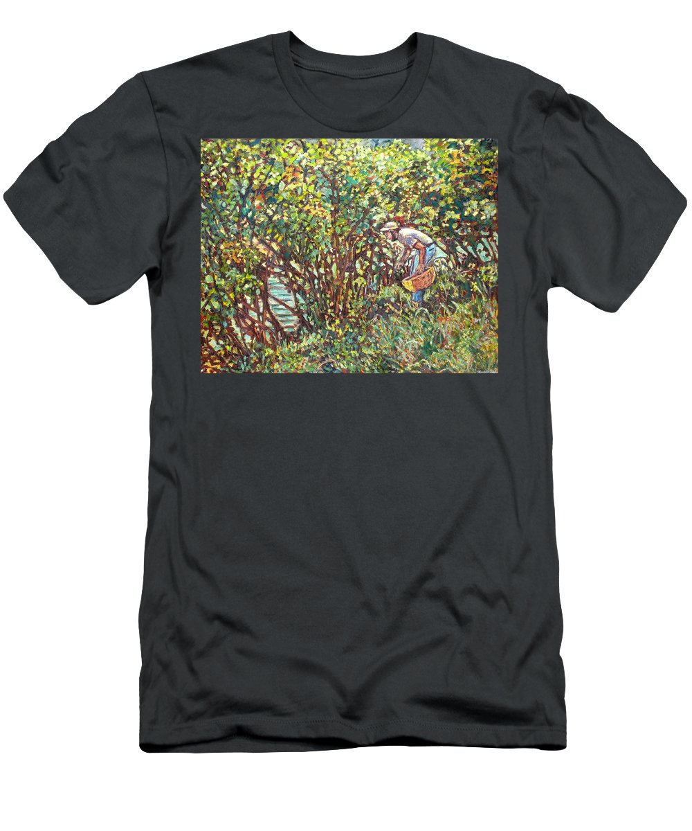 Landscape Men's T-Shirt (Athletic Fit) featuring the painting The Mushroom Picker by Kendall Kessler