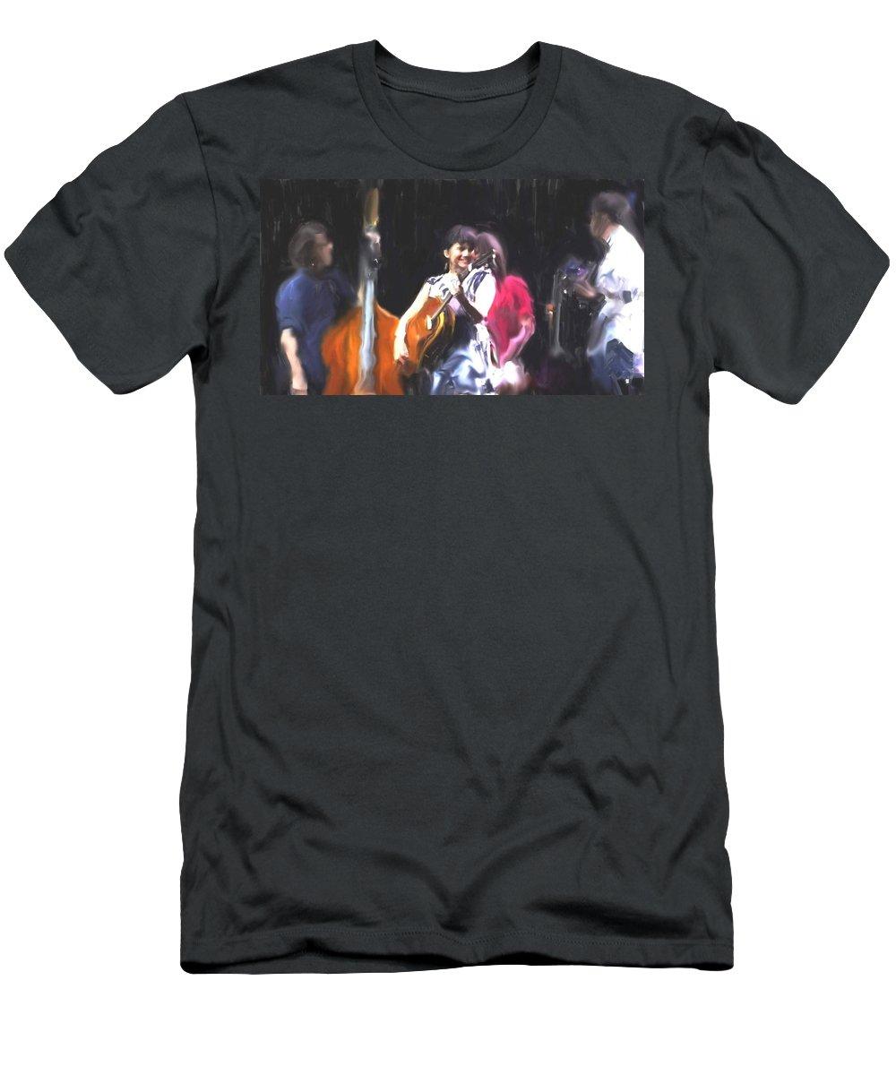 The Music Of Norah Jones Men's T-Shirt (Athletic Fit) featuring the painting The Music Of Norah Jones by Usha Shantharam
