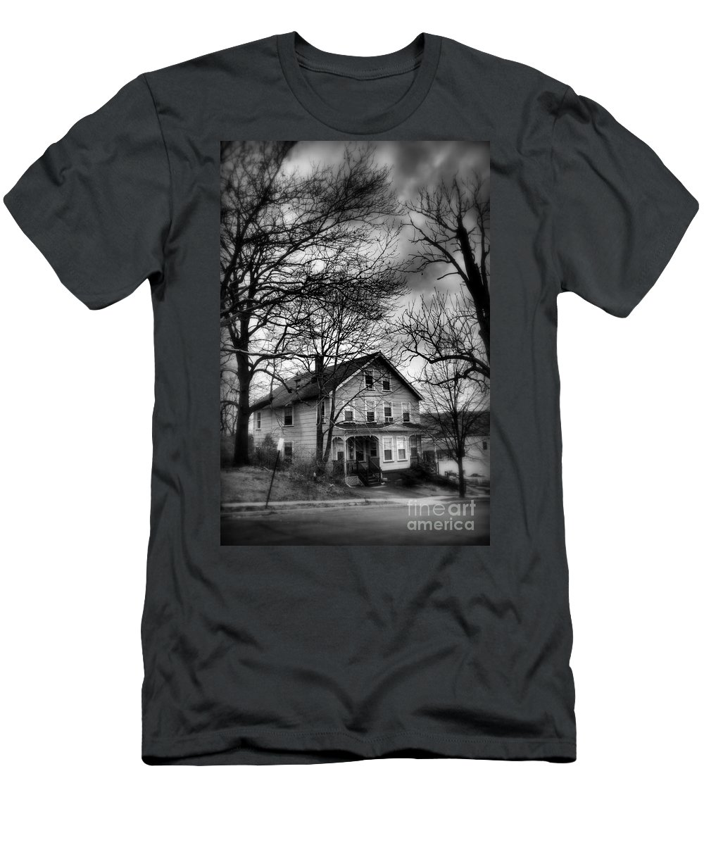 Old House Men's T-Shirt (Athletic Fit) featuring the photograph The Old House Down The Street by Miriam Danar