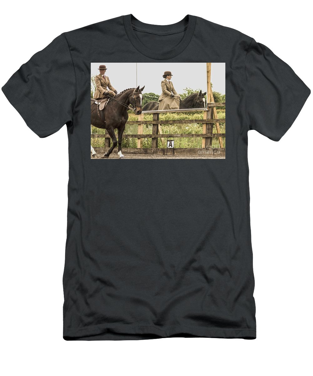 Horse Men's T-Shirt (Athletic Fit) featuring the photograph The Other Side Of The Saddle by Linsey Williams