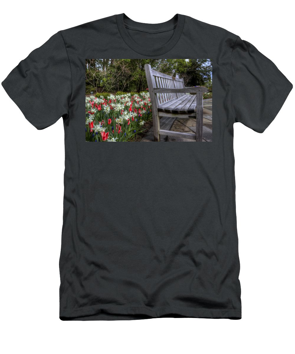 Flowers Men's T-Shirt (Athletic Fit) featuring the photograph The Park Bench by David Dufresne