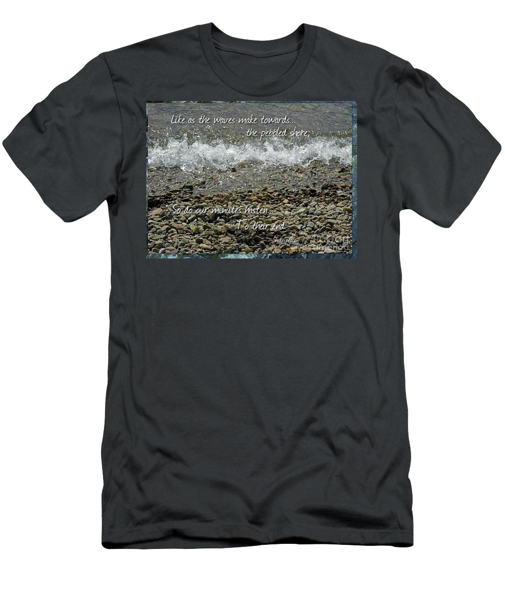 Pebbled Shore Men's T-Shirt (Athletic Fit) featuring the photograph The Pebbled Shore 2 by Joan-Violet Stretch