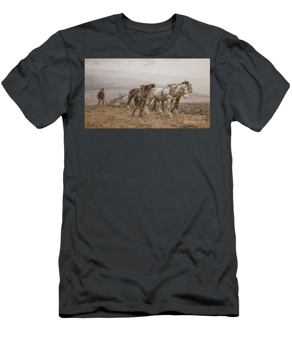 Agricultural Men's T-Shirt (Athletic Fit) featuring the painting The Ploughman Wilmington Polegate Near Eastbourne by Joseph Harold Swanwick