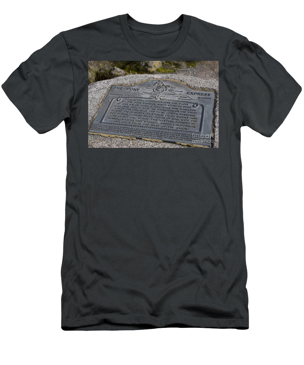 Travel Men's T-Shirt (Athletic Fit) featuring the photograph The Pony Express Marker by Jason O Watson
