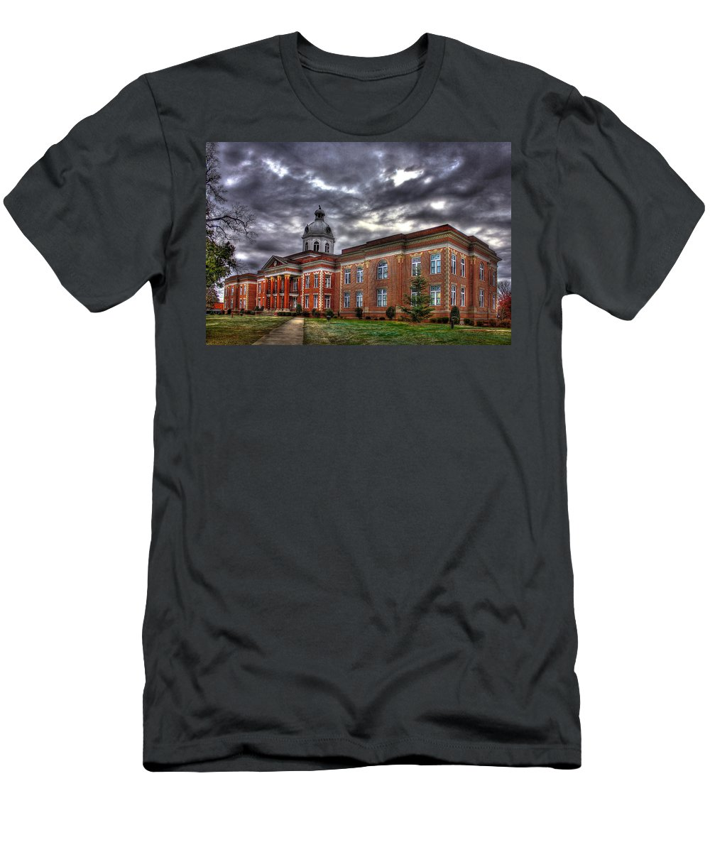 Reid Callaway Putnam County Court House Men's T-Shirt (Athletic Fit) featuring the photograph The Powerhouse Putnam County Court House by Reid Callaway
