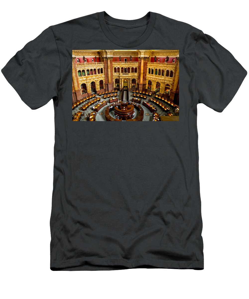 Arlington Cemetery Men's T-Shirt (Athletic Fit) featuring the photograph The Reading Room by Greg Fortier