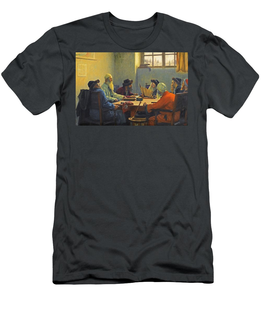 Theodoros Rallis Men's T-Shirt (Athletic Fit) featuring the painting The Seven Rabbis In Jerusalem by Theodoros Rallis