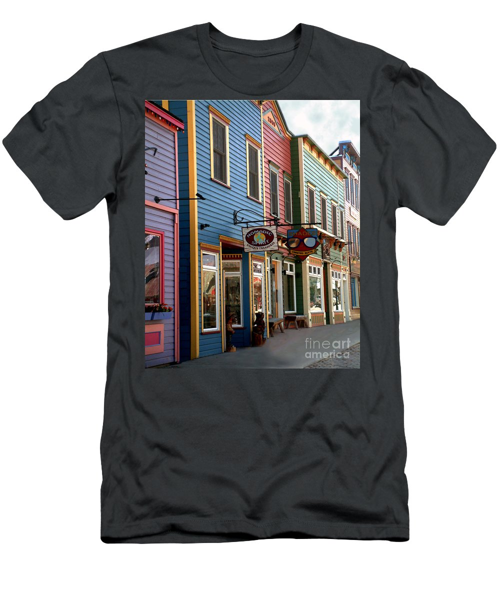 Landscape Men's T-Shirt (Athletic Fit) featuring the photograph The Shops In Crested Butte by RC DeWinter