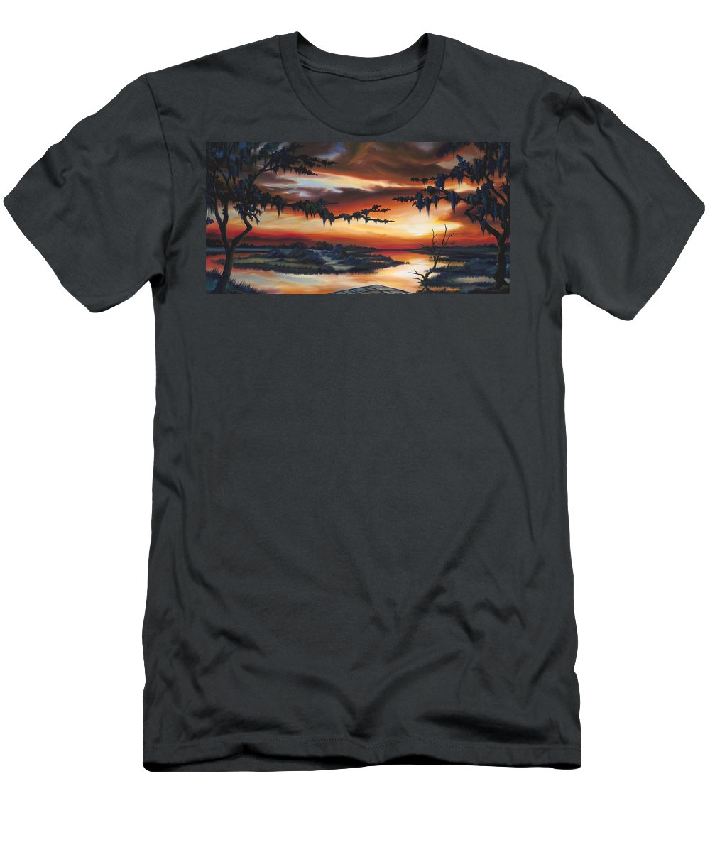 Marsh T-Shirt featuring the painting The Southern Marsh by James Christopher Hill