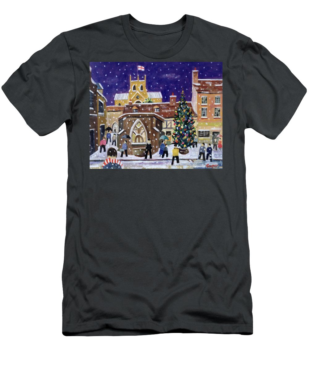 Street Scene Men's T-Shirt (Athletic Fit) featuring the painting The Spirit Of Christmas by William Cooper
