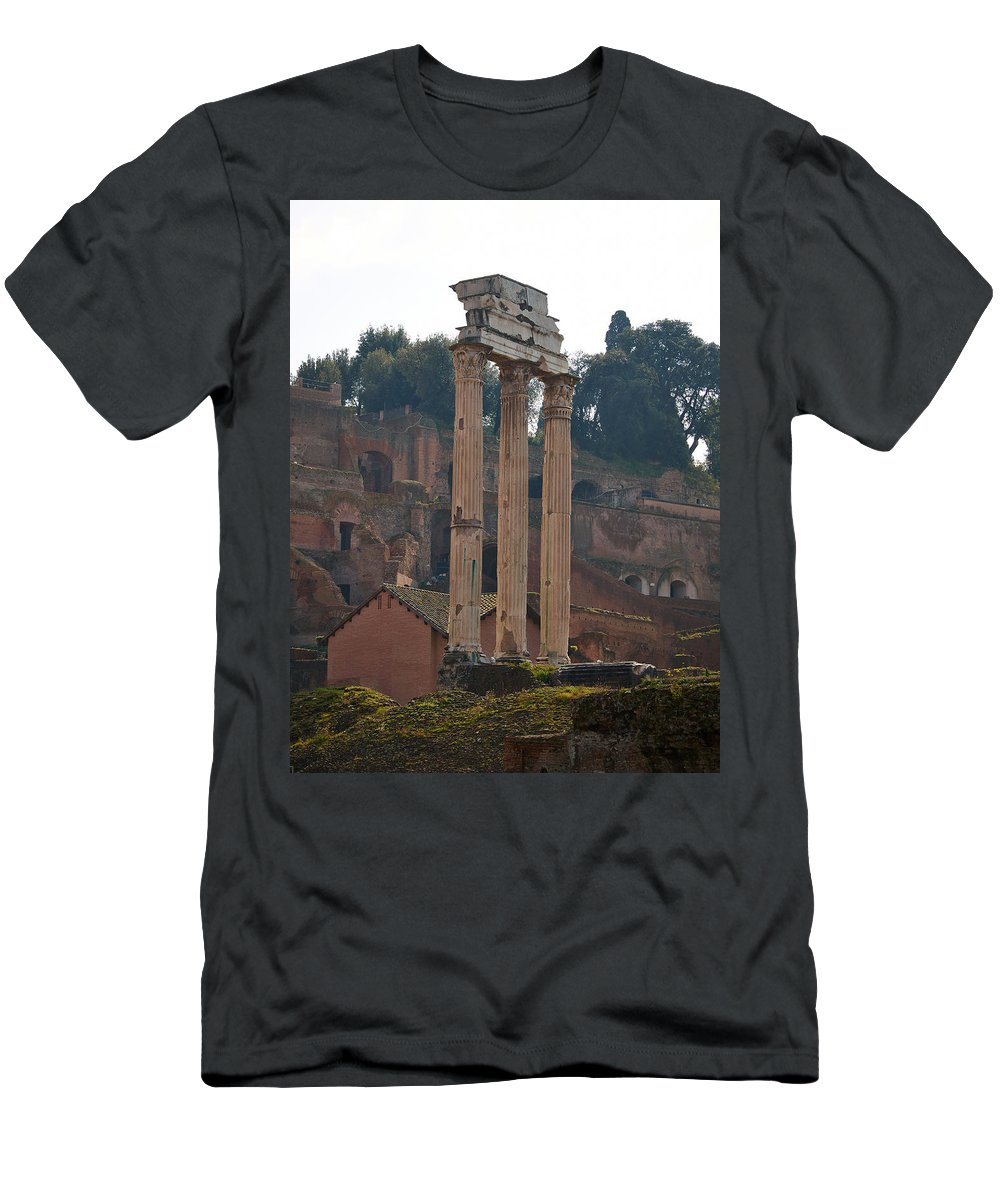 2013. Men's T-Shirt (Athletic Fit) featuring the photograph The Temple Of Castor And Pollux by Jouko Lehto