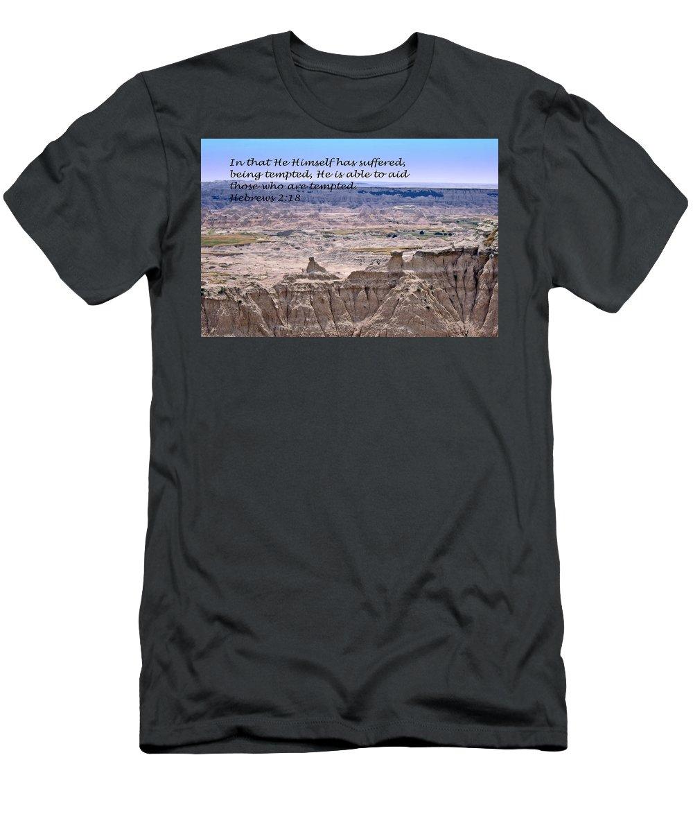 Landscape Photography Men's T-Shirt (Athletic Fit) featuring the photograph The Temptation Of Jesus Hebrews 2 18 by Barb Dalton