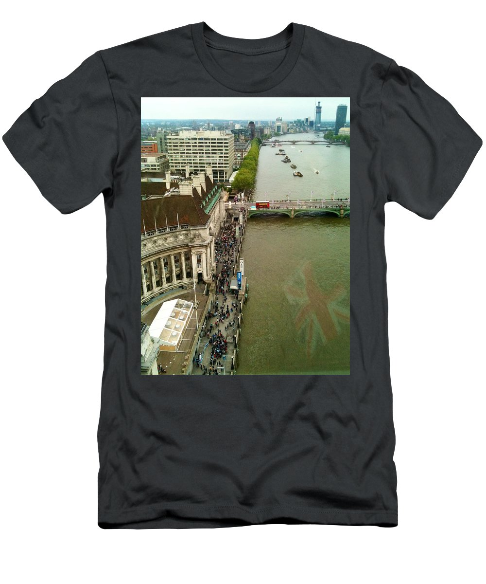 England Men's T-Shirt (Athletic Fit) featuring the photograph The Thames River And The Flag Of England by Lois Ivancin Tavaf