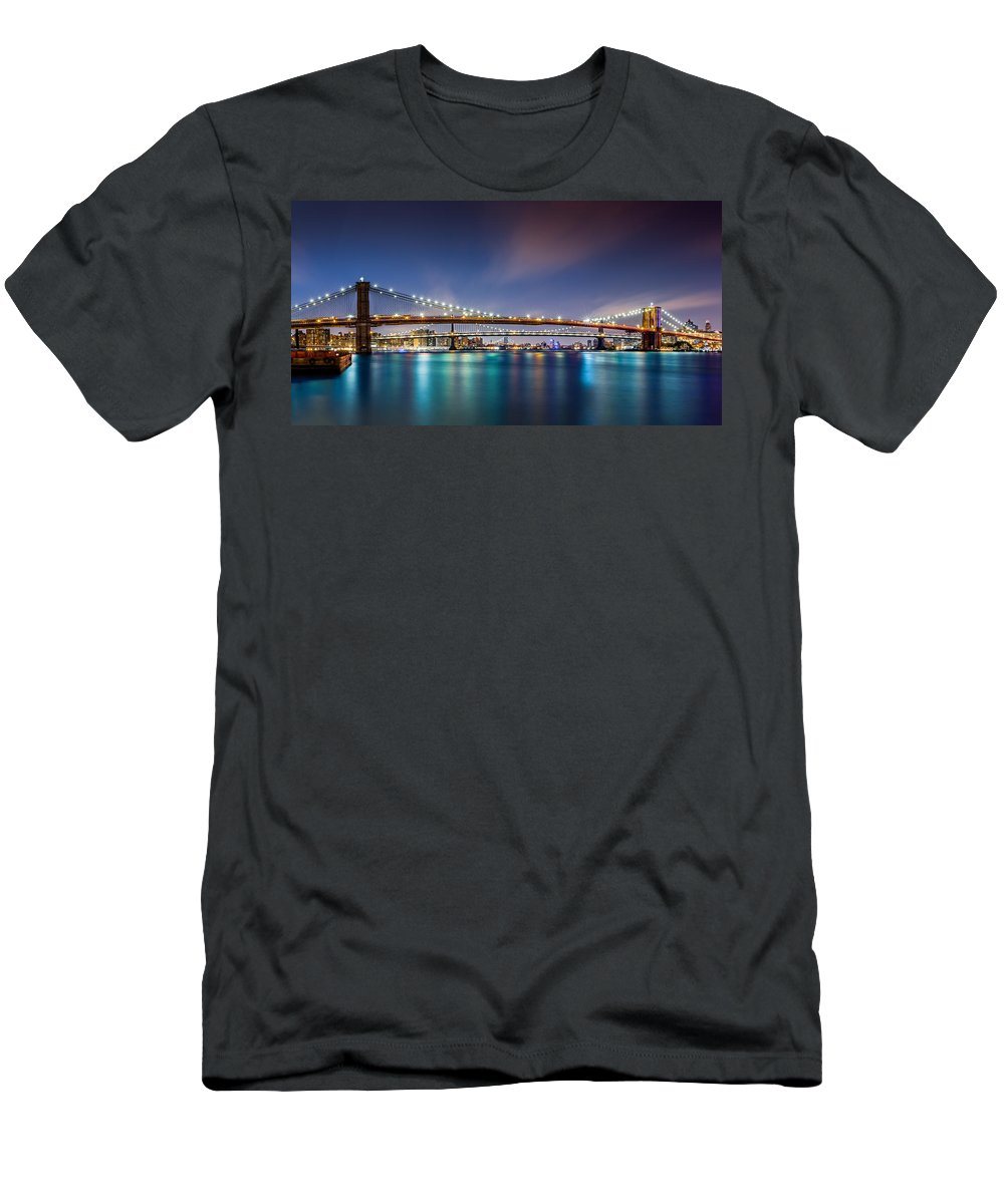 America Men's T-Shirt (Athletic Fit) featuring the photograph The Three Bridges by Mihai Andritoiu