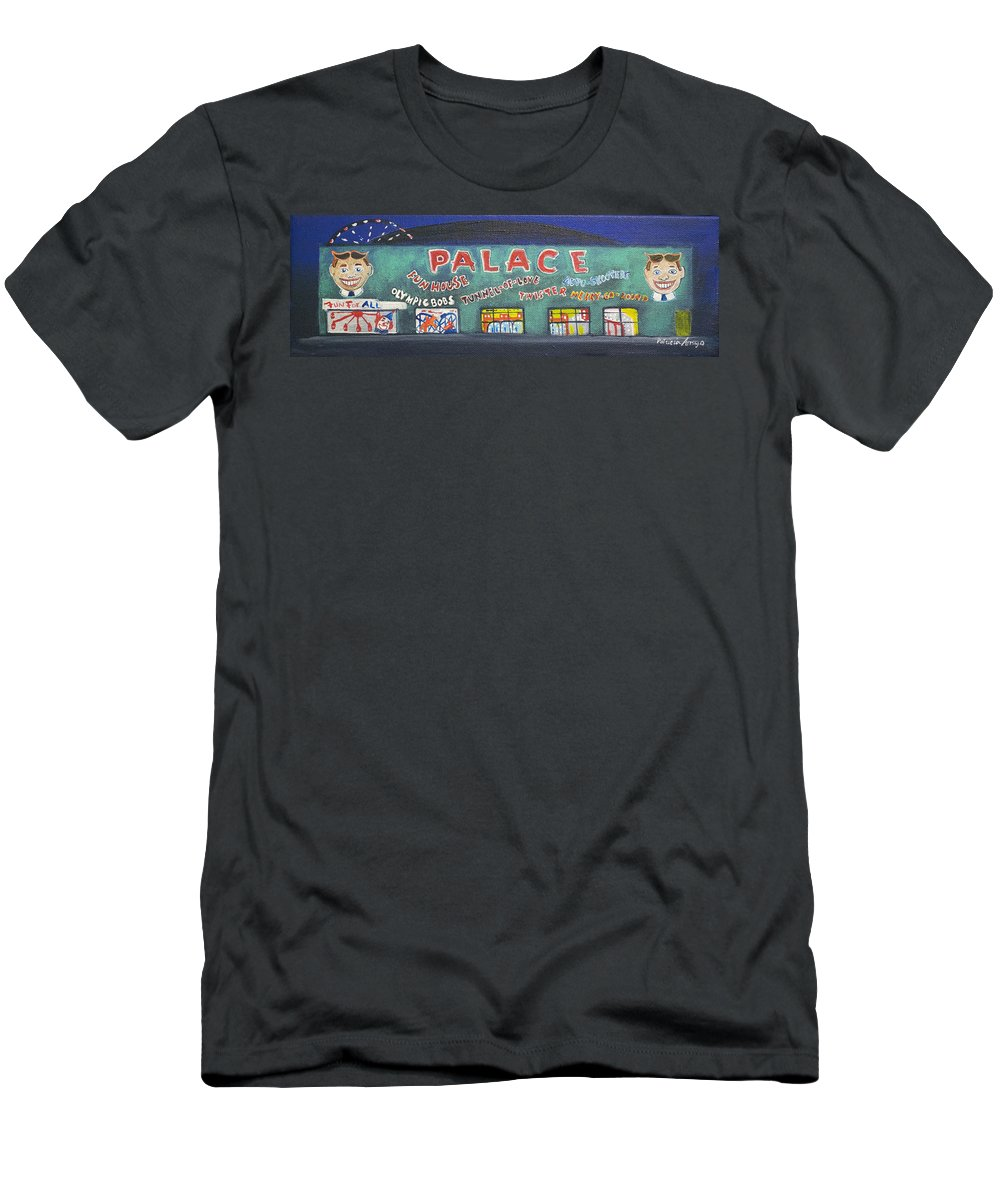 Tillie Of Asbury Park T-Shirt featuring the painting The Tiny Tiny Palace by Patricia Arroyo