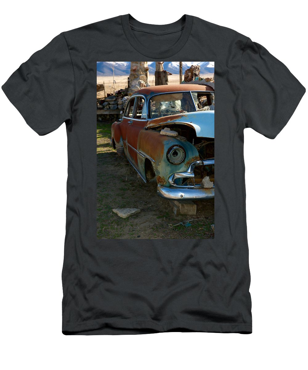Thunder Mountain Indian Monument Men's T-Shirt (Athletic Fit) featuring the photograph The Tired Chevy 3 by Richard J Cassato