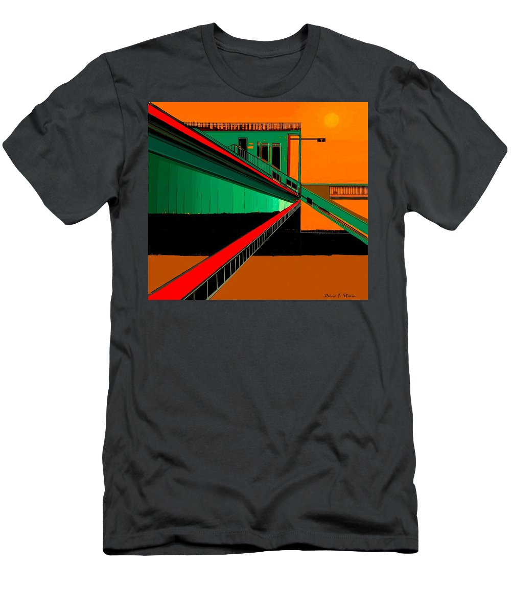 Paintings On Canvas Men's T-Shirt (Athletic Fit) featuring the painting The Train Station Number 9 by Diane Strain