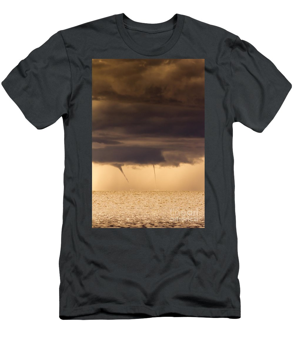 Waterspout Men's T-Shirt (Athletic Fit) featuring the photograph The Twin Spin by Marvin Spates