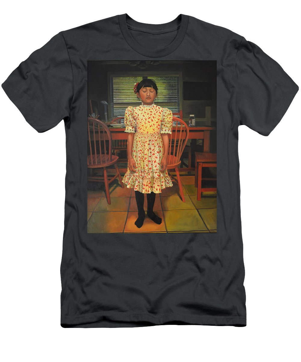 Children Paintings Men's T-Shirt (Athletic Fit) featuring the painting The Valentine Dress by Thu Nguyen