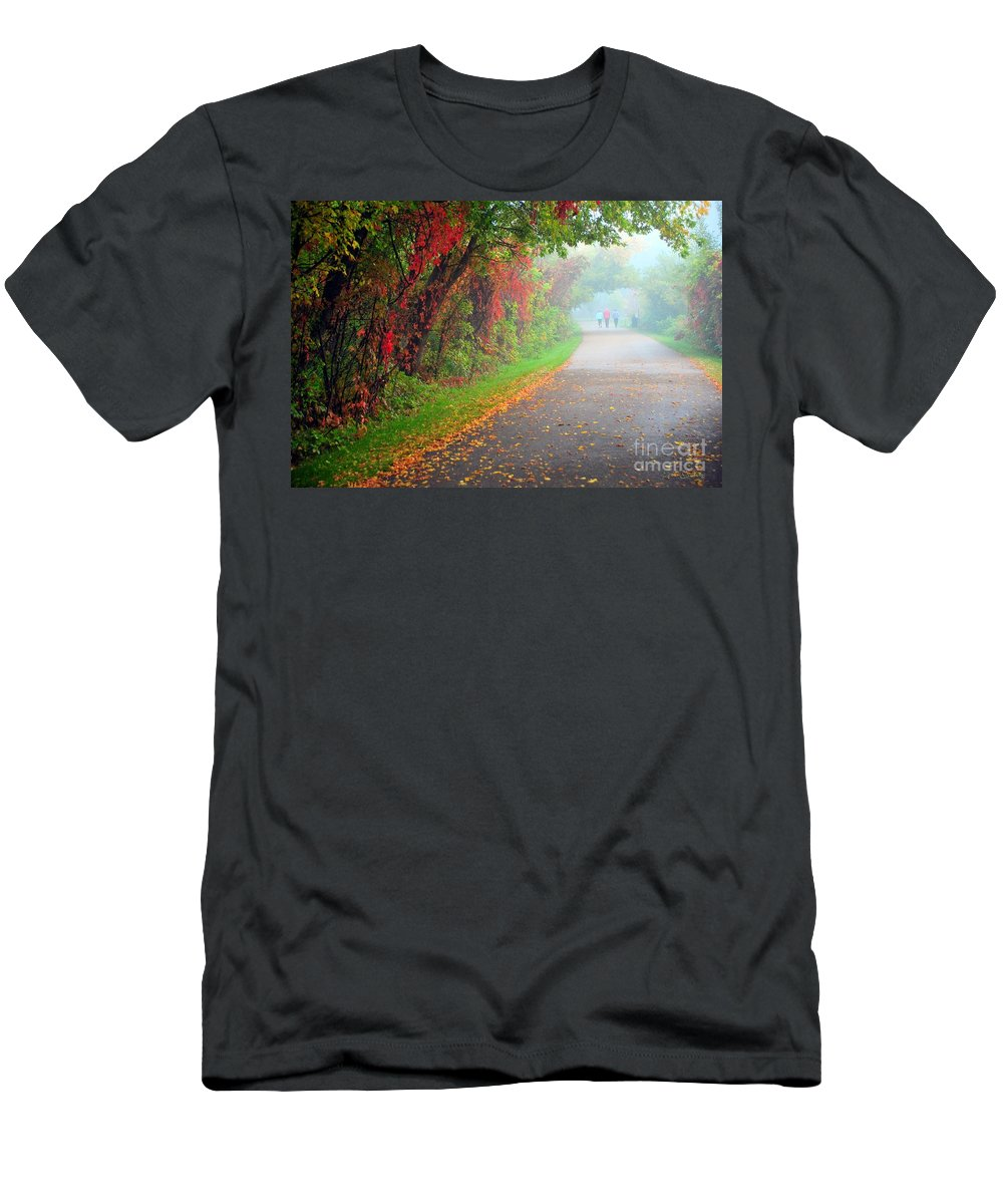 Path Men's T-Shirt (Athletic Fit) featuring the photograph The Walk by Terri Gostola