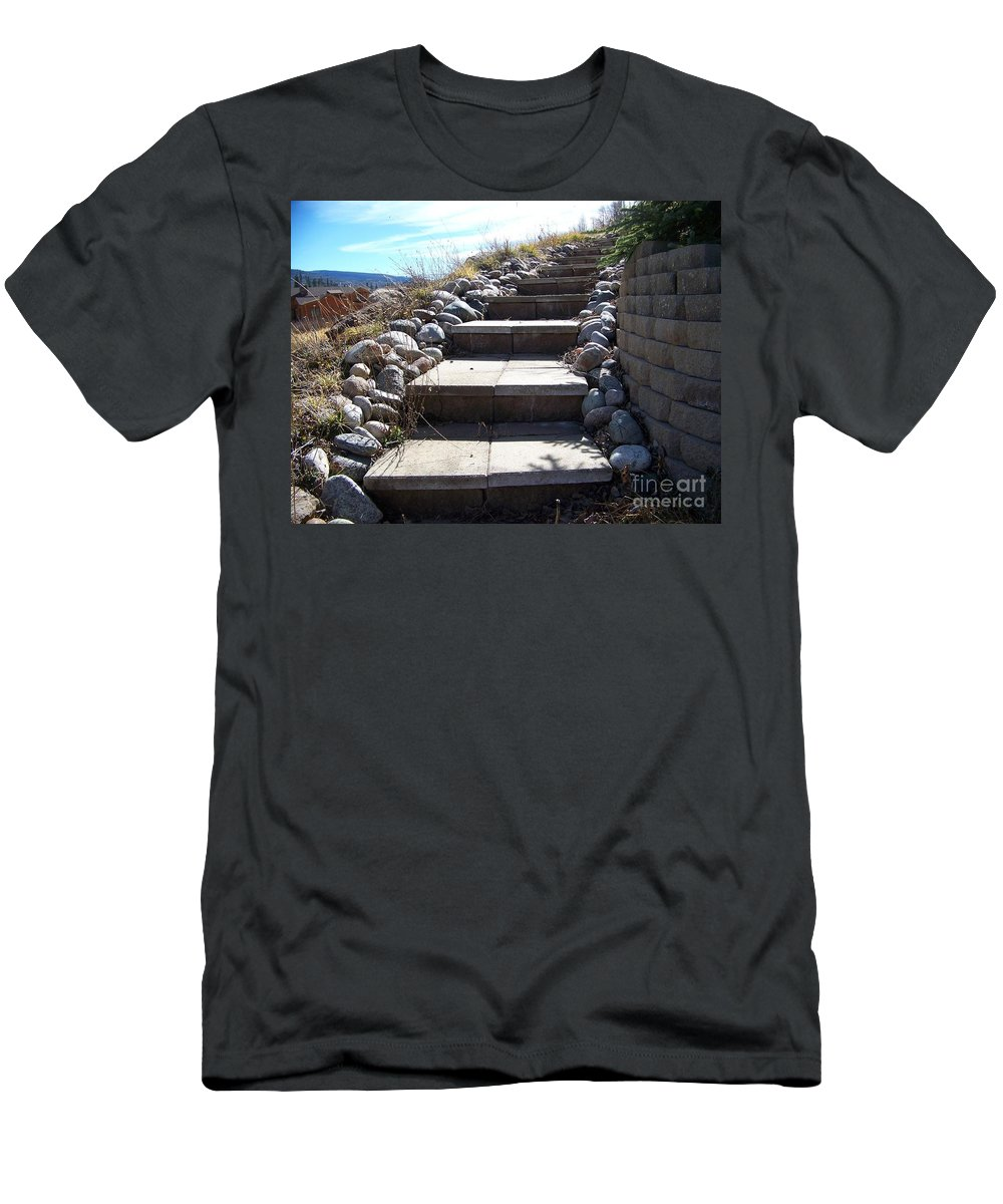 Steps Men's T-Shirt (Athletic Fit) featuring the photograph The Way Up by Jewell McChesney