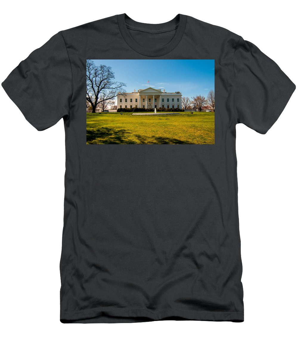 District Men's T-Shirt (Athletic Fit) featuring the photograph The White House In Washington Dc With Beautiful Blue Sky by Alex Grichenko