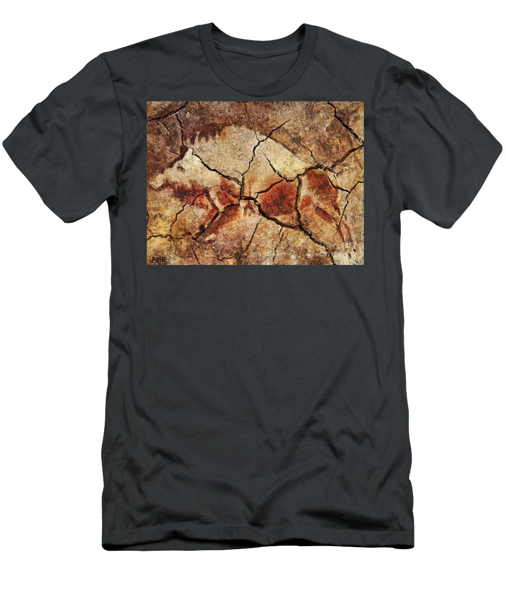 Animal Men's T-Shirt (Athletic Fit) featuring the digital art The Wild Boar-cave Art by Dragica Micki Fortuna