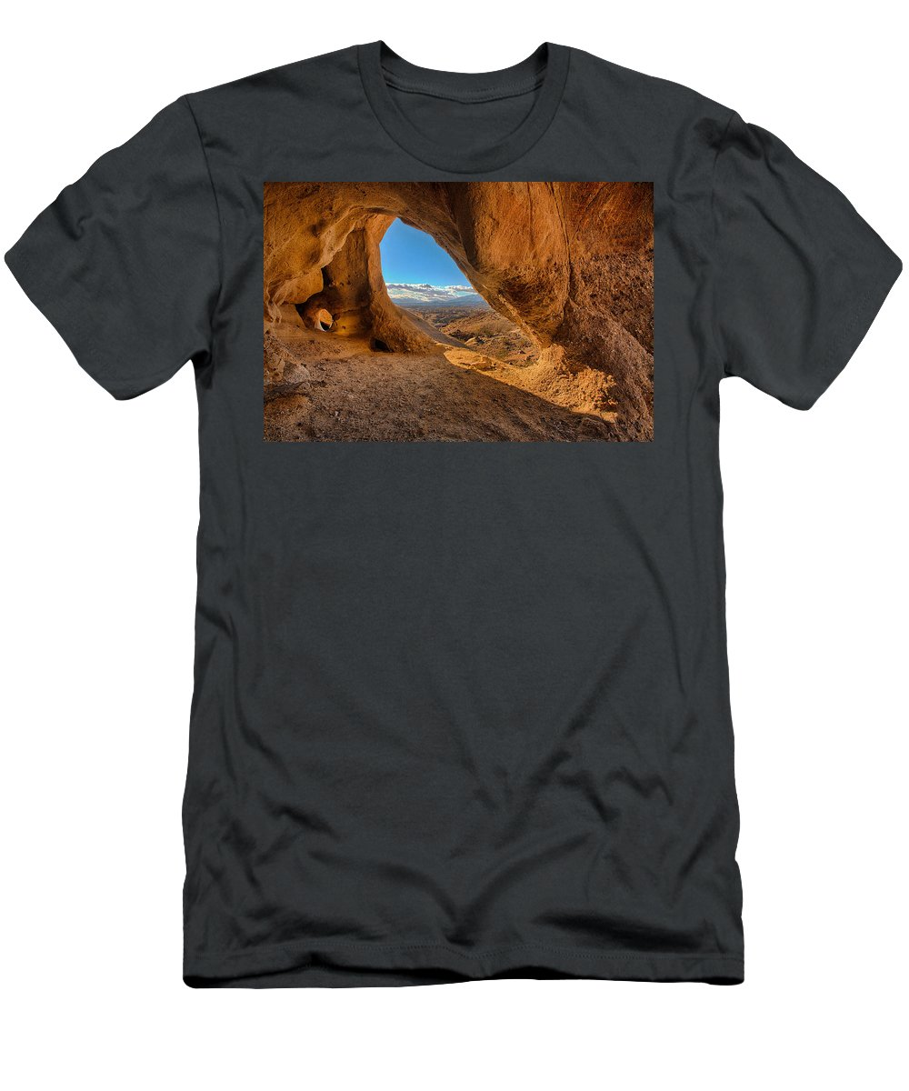 The Wind Caves Men's T-Shirt (Athletic Fit) featuring the photograph The Wind Caves by Peter Tellone