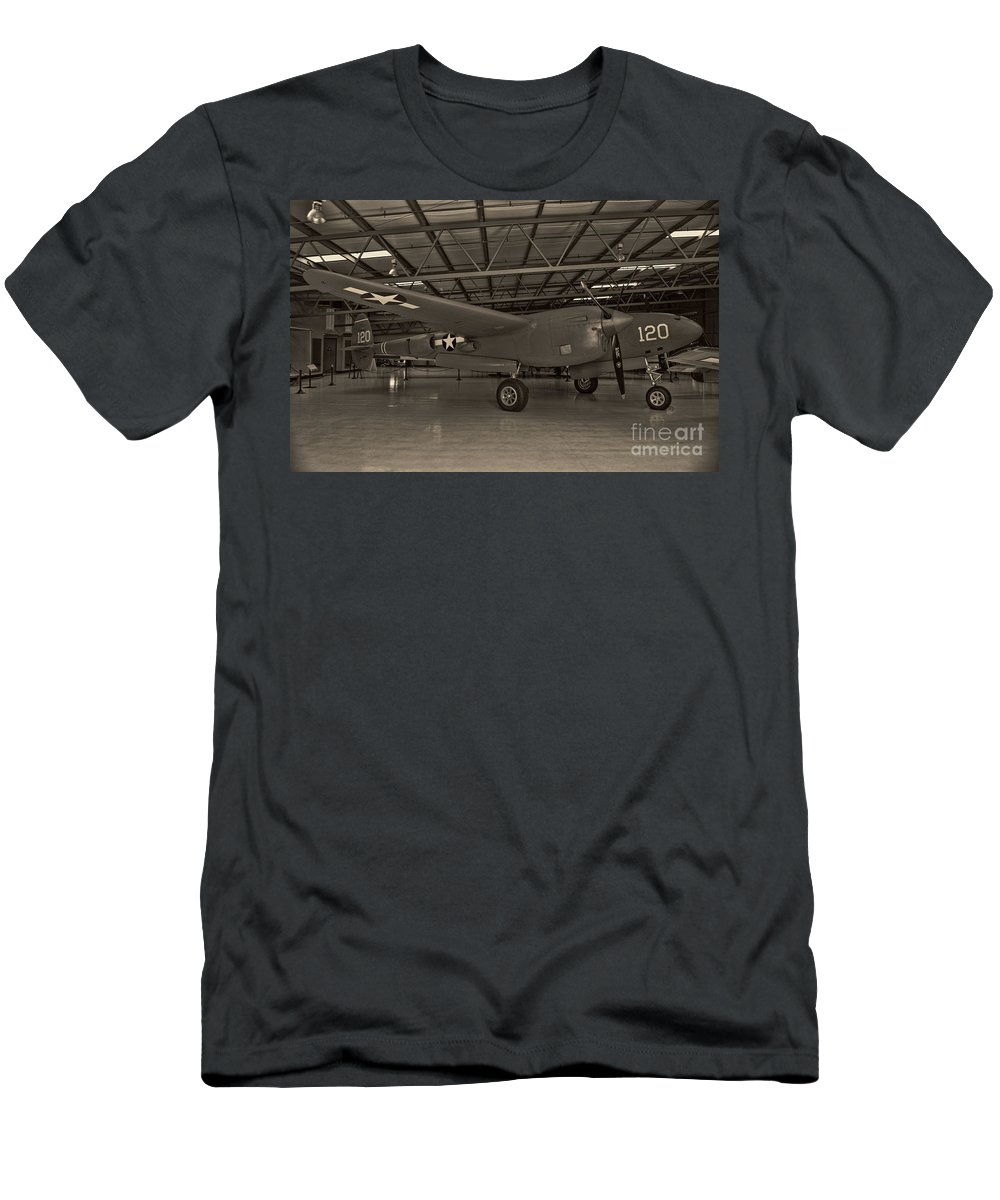 Lockheed P-38 Lighting Men's T-Shirt (Athletic Fit) featuring the photograph Thoughts Of Midnite P-38 3 by Tommy Anderson