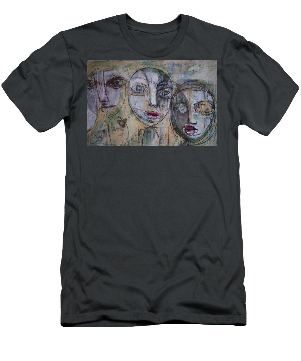 Pop Surrealism Men's T-Shirt (Athletic Fit) featuring the painting Three Portraits On Paper by Laurie Maves ART