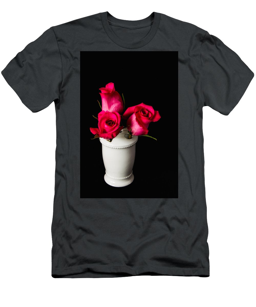 Rose Men's T-Shirt (Athletic Fit) featuring the photograph Three Roses by Lindley Johnson