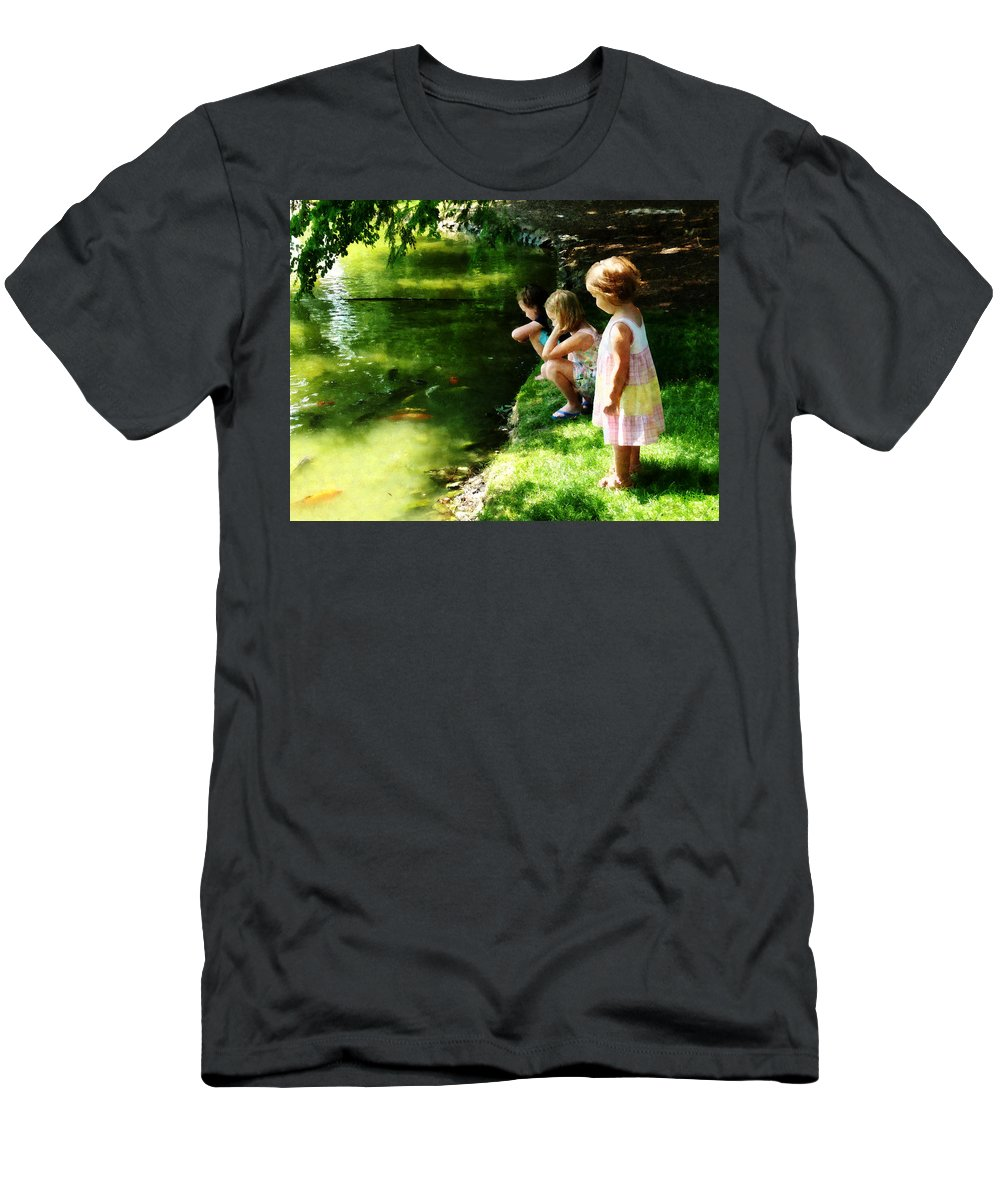 Park Men's T-Shirt (Athletic Fit) featuring the photograph Three Sisters Watching Koi by Susan Savad