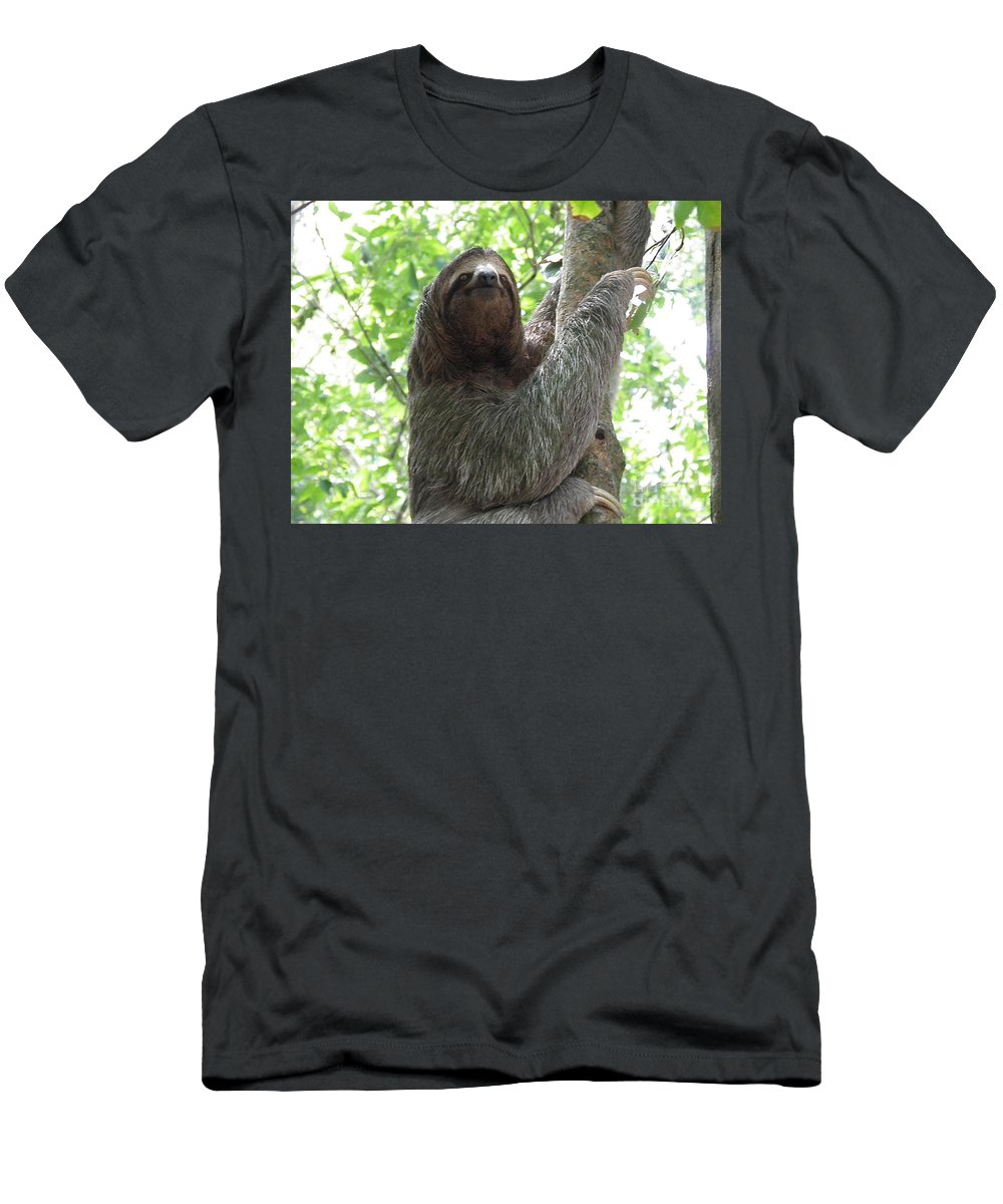 Sloth Men's T-Shirt (Athletic Fit) featuring the photograph Three Toed Sloth by DejaVu Designs