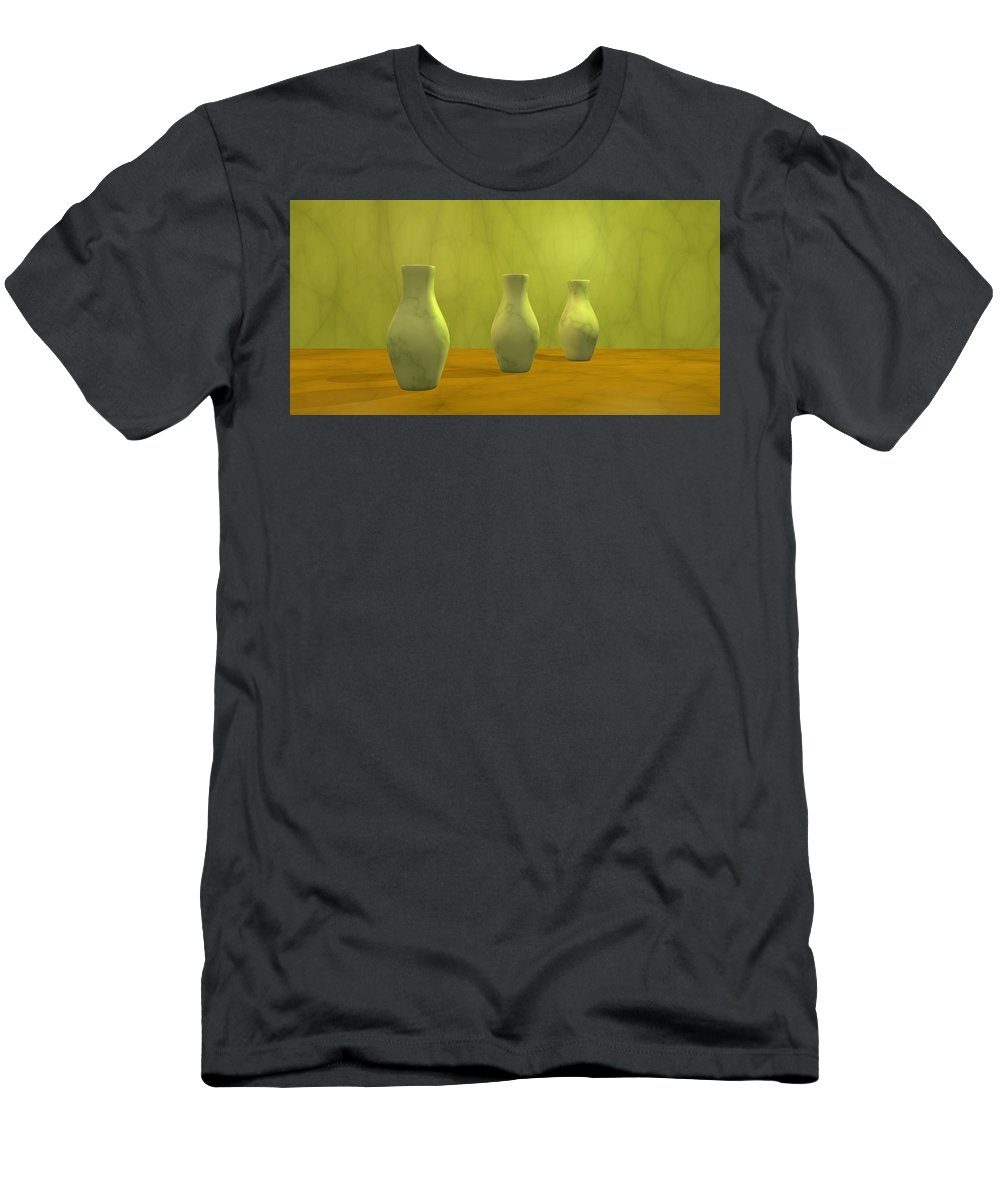 Still Life Men's T-Shirt (Athletic Fit) featuring the digital art Three Vases II by Gabiw Art