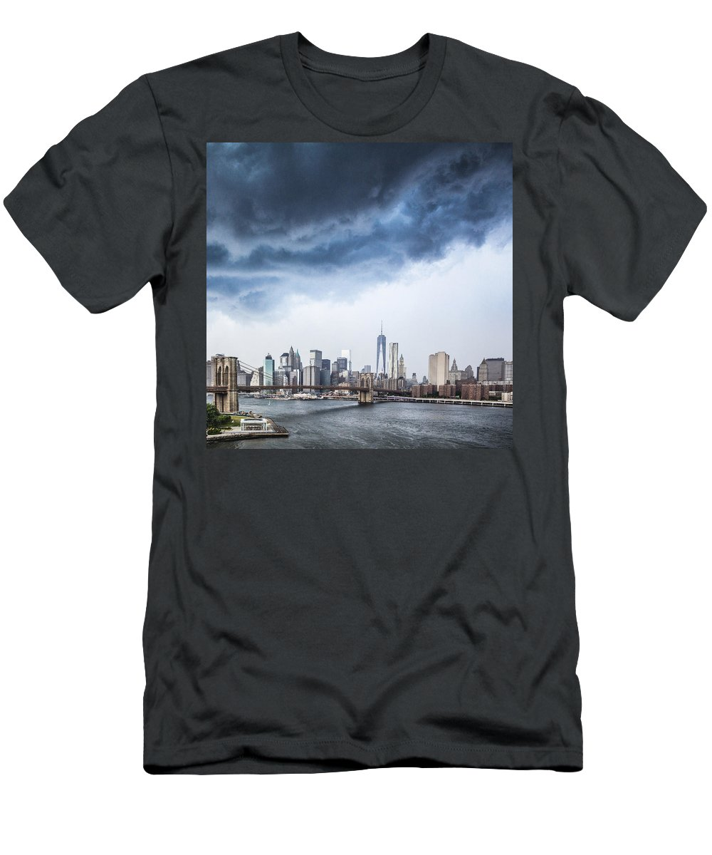 Manhattan Men's T-Shirt (Athletic Fit) featuring the photograph Thunderstorm Over Manhattan Downtown by Alex Potemkin